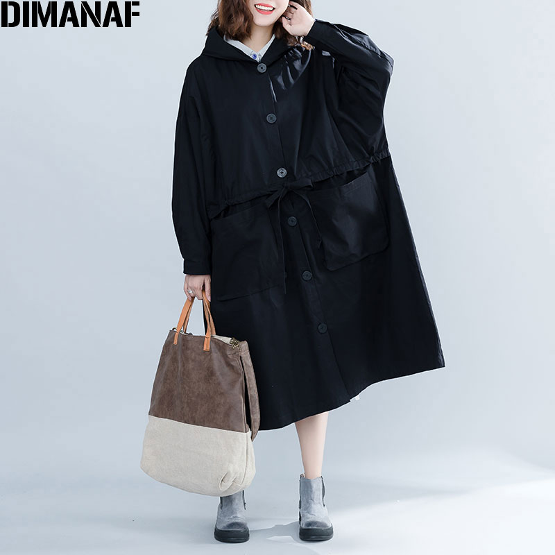 DIMANAF 2019 Women Jackets Coats Plus Size Autumn Button Thin Big Cardigan Female Clothes Loose Oversized Black Outerwear