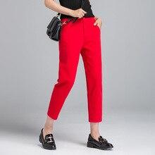 купить!  Плюс Размер женщин Высокая талия стрейч длинные брюки женские хлопчатобумажные повседневные прямые