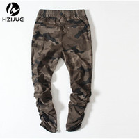 HZIJUE 2018 Più Nuova Vendita Calda Camouflage Casual Skinny Zipper botton Pantaloni Sportivi Hip Hop Maschio high street Pantaloni Jogging Pantaloni