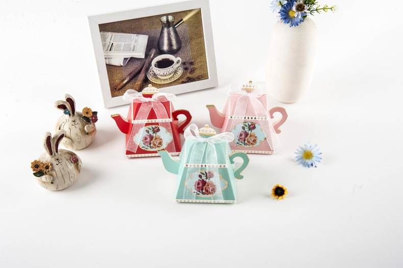 50//100Pcs TeaPot Paper Boxes Candy Sweets Cookies Biscuits Party Favour Gift Bag