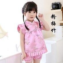 2019 New Summer Floral Qipao Childrens Sets Year Chinese dresses short pants cheongsam