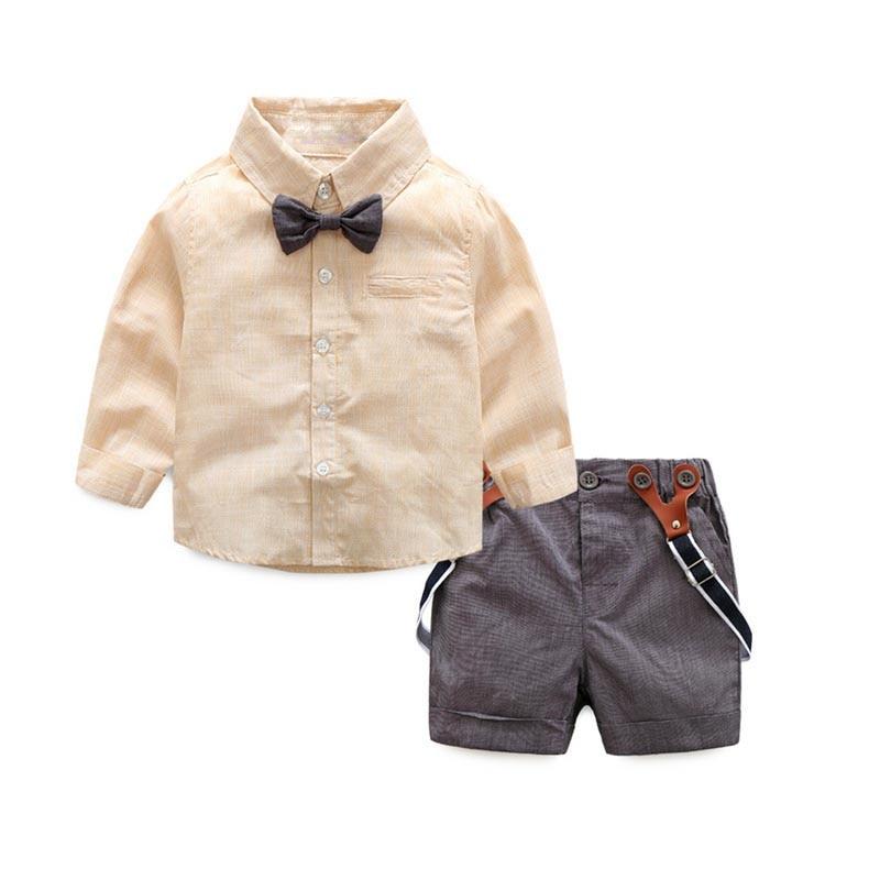 Baby Boy 2pcs Suits Gentleman Suit Bow Shirt Short Suspenders Pant Infant Gentleman Baby Boy Clothing 2 pcs Set