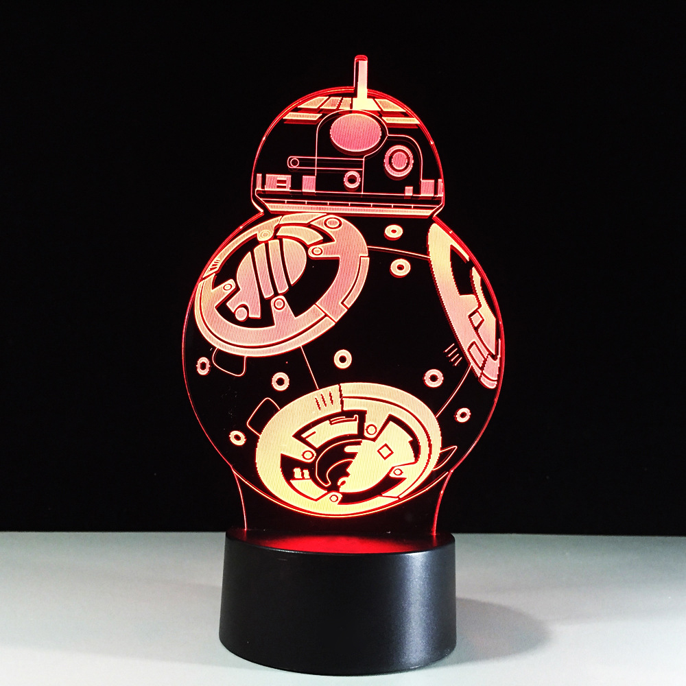 USB Led Star Wars BB8 Robot 3D NightLight 7 Color Changing Mood Baby Sleep Lighting Kids Bedroom Decor Table Desk Lamp Xmas Gift