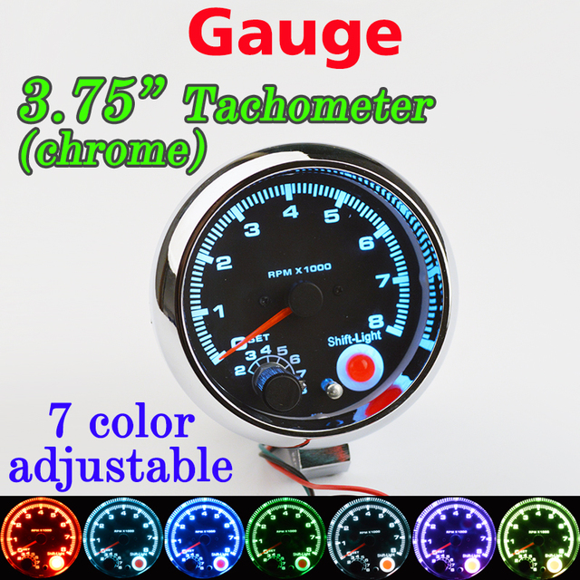 Dragon gauge car gauge 375 inch 95mm tachometer chrome for 7 led dragon gauge car gauge 375 inch 95mm tachometer chrome for 7 led colors adjustable 12v 3 sciox Choice Image