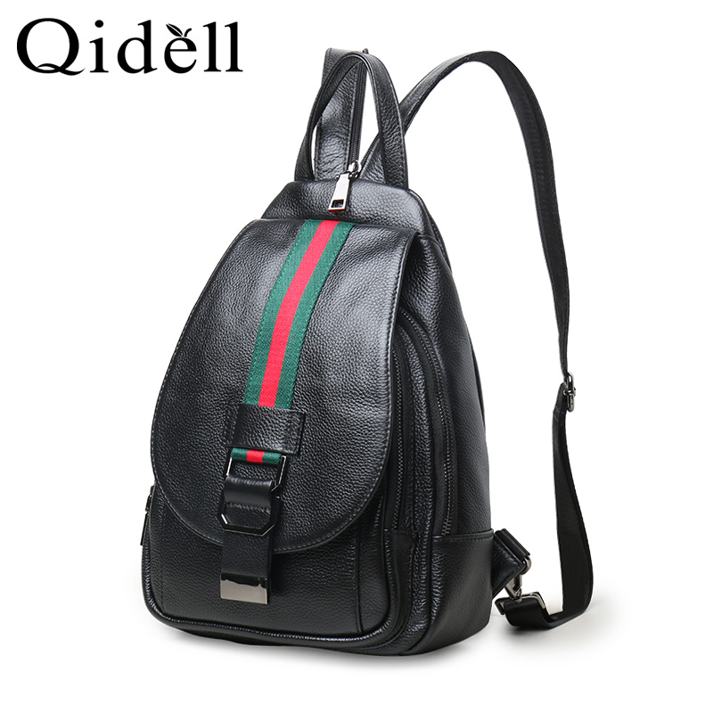 Qidell K602 Genuine Leather Multi Functional Striped School Bags Small Backpack Women Backpacks цена