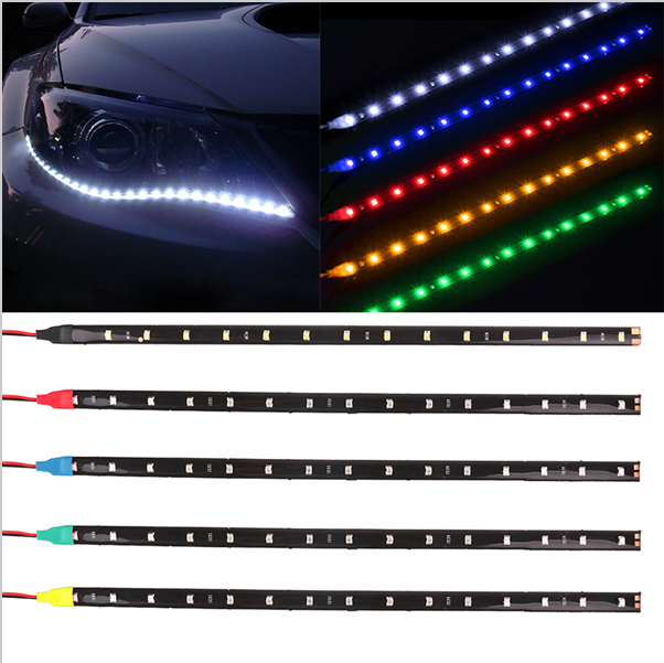 2pcs waterproof car led strip light drl car auto decorative 2pcs waterproof car led strip light drl car auto decorative flexible led strip 12v 30cm 15smd mozeypictures Gallery