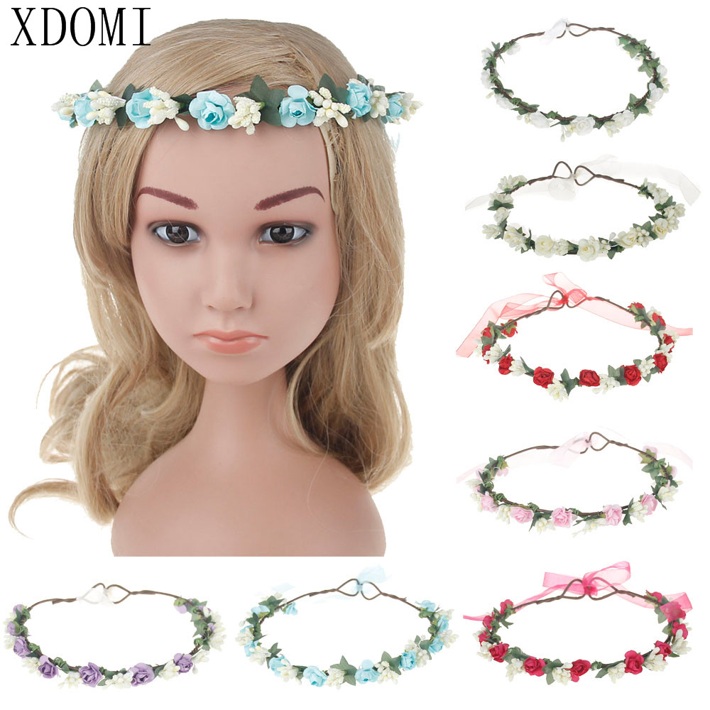 Popular Children's Hair Accessories Flower Headband Bohemian Style Wreath Garland Girls Birthdat/Party Hairband ins hot selling mom and me feather wreath summer style girls headband flower mommy and child matching garland hair accessories