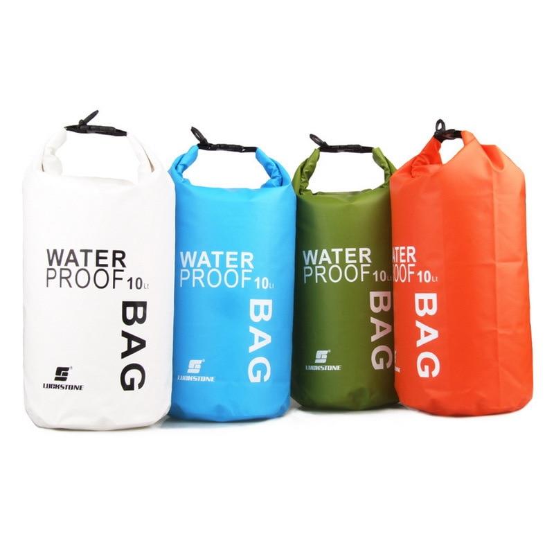 4Colors 10L Ultralight Portable Outdoor Travel Rafting Waterproof Dry Bag Swim Storage Blue/White/Orange/Green Camping Equipment