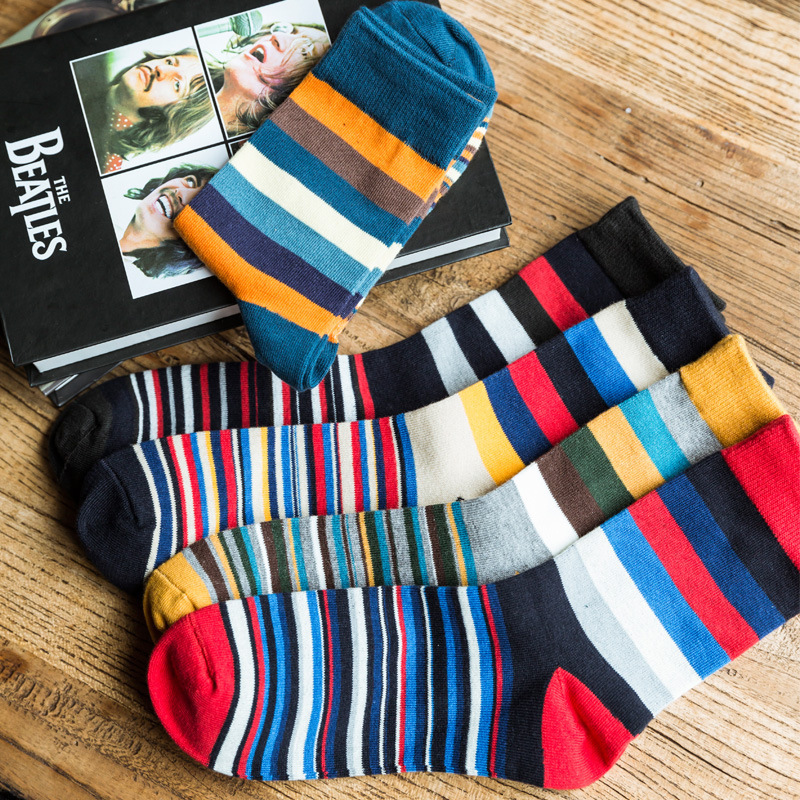 Comfortable and Breathable High Quality Men Cotton Socks Autumn stripe Casual Business Young Men Socks 5 Colors For Choose