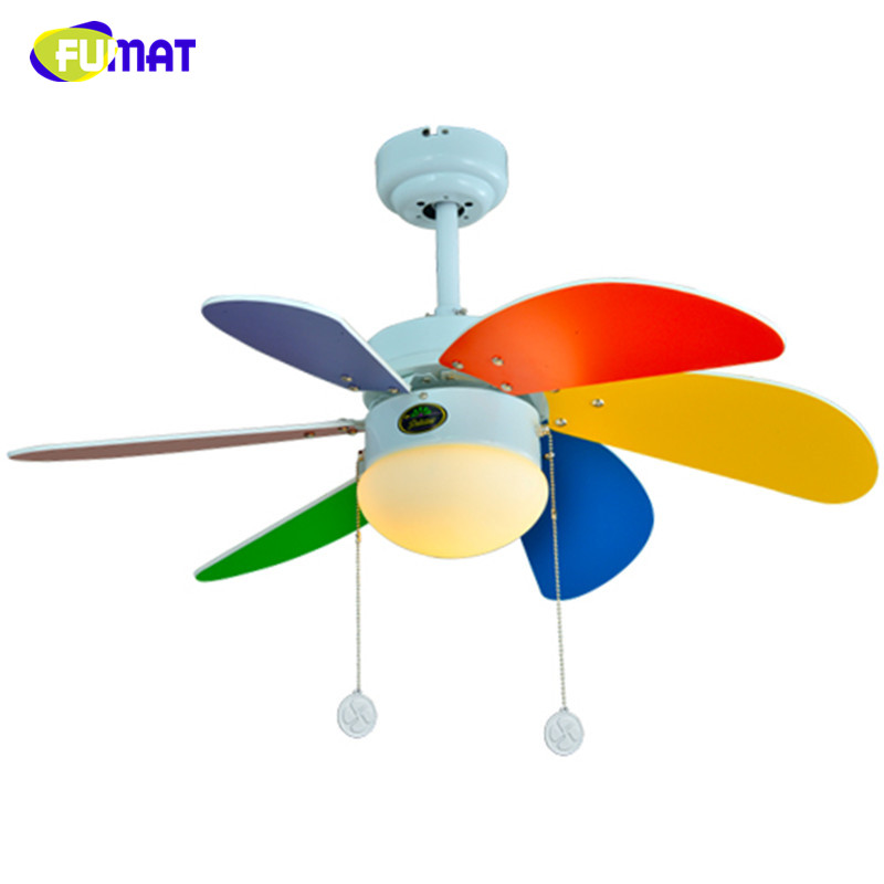 FUMAT Colour Ceiling Fans Children Room Led 6pcs Wood Leaf Ceiling Fans Lamp Brief Kindergarten Child care Center Lamp 30