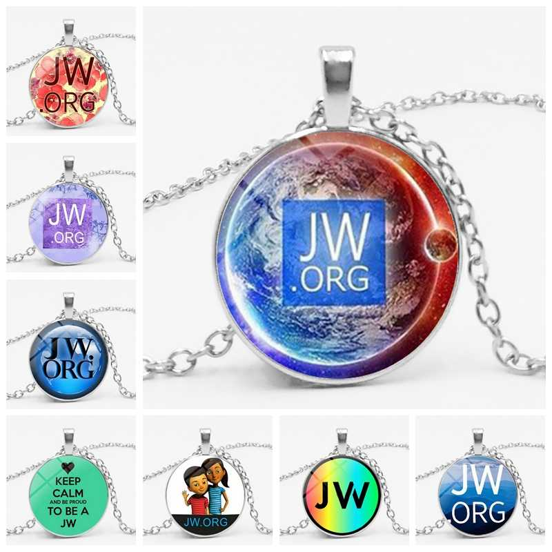 1pcs Fashion JW.ORG Bright Convex Round Glass Pendant Necklace Men and Women Friends Family Gifts