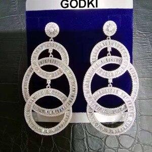 Image 3 - Женские длинные серьги GODKI, свадебные с кубическим Цирконом и стразами, 73 мм