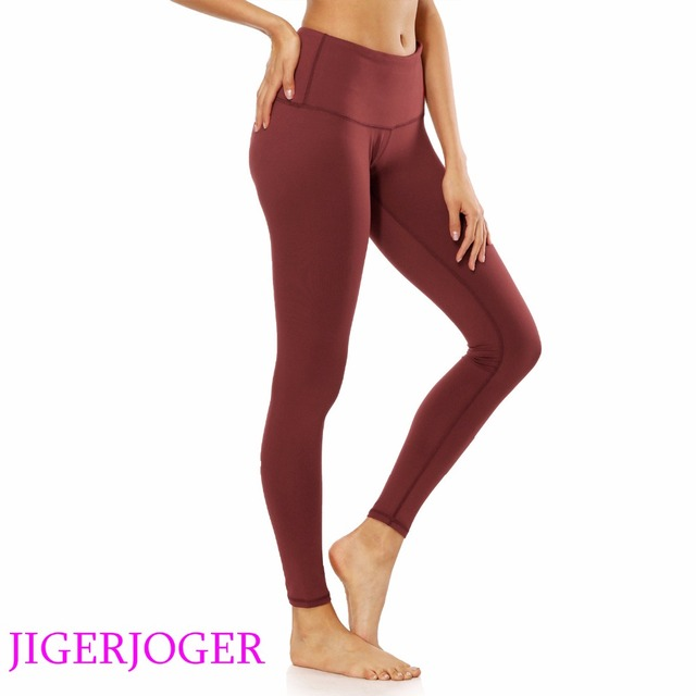 94b9c54da6bf JIGERJOGER Women s yoga Leggings Brand quality high Rise a pocket Wine red  ballerina compression tight pants free drop shipping