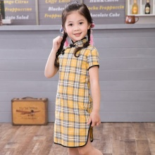 Chinese Style Baby Girls Dress Plaid Vintage Cheongsam Kids Cotton Short Sleeve Dresses Party Costume Children Clothes