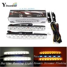 2X9 LEDs Dynamic Streamer Flash LED DRL Daytime Running Light Bar Car Styling Turn Signal Warning Steering White Amber Fog Lamp sunkia car led drl daytime running light with fog lamp hole for mitsubishi asx 2013 2015 white light amber turn signal
