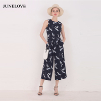 JuneLove 2017 Spring Summer New Jumpsuit Women S Bird Print O Neck Sleeveless Belt Sashes Ankle