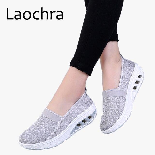 LAOCHRA Women's Thick Bottom Shoes 2018 New Fashion Leisure Women Swing Shoes Breathable Flats Platform Sneakers Lady Footwear