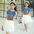 Summer Design Girl Dress Baby Short Sleeve Dresses With Bowknot Children Denim Mesh Dresses Kids Party Princess Clothes