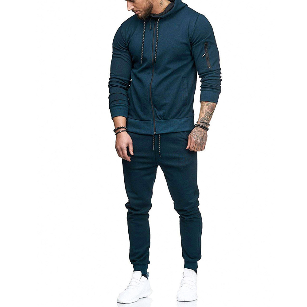 HTB1f0ASBZuYBuNkSmRyq6AA3pXap 2019 fashion Patchwork Zipper Sweatshirt Top Pants Sets Sports Suit solid color slim Tracksuit High Quality Pullover clothing