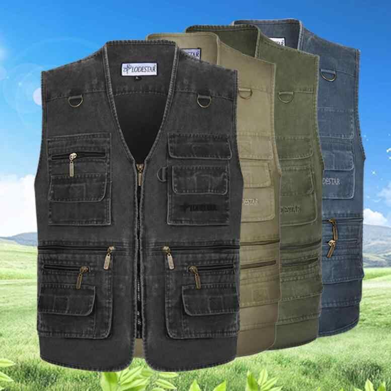 デニムベスト男性綿ノースリーブジャケットカジュアルベスト男性多くポケットプラスサイズ 7XL コートポケット軍事戦術的なベスト