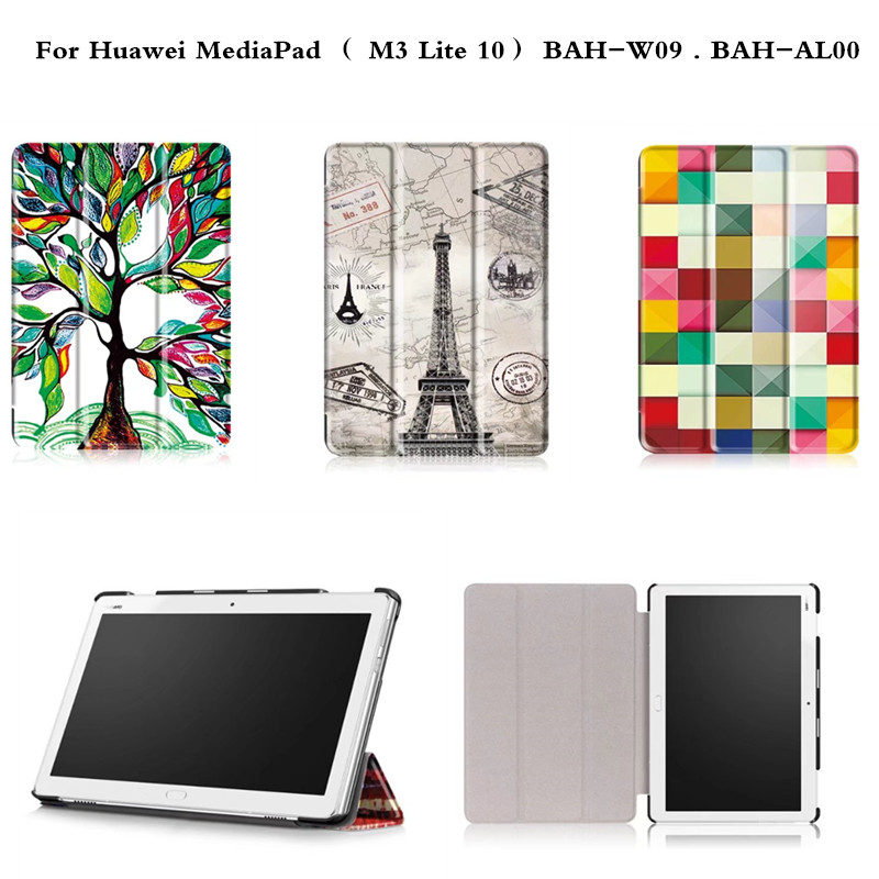 PU Leather Cute Cartoon Case Ultra Thin Slim Smart Stand Cover For Huawei MediaPad  M3 Lite 10 BAH-W09 BAH-AL00 10.1'' Tablet ultra slim magnetic stand leather case cover for huawei mediapad m3 lite 8 0 cpn w09 cpn al00 8tablet case with auto sleep