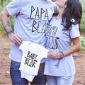 Fashion Family Matching Outfits Papa Mama Baby Kid Shirt Cotton T-Shirt Lovers Clothes