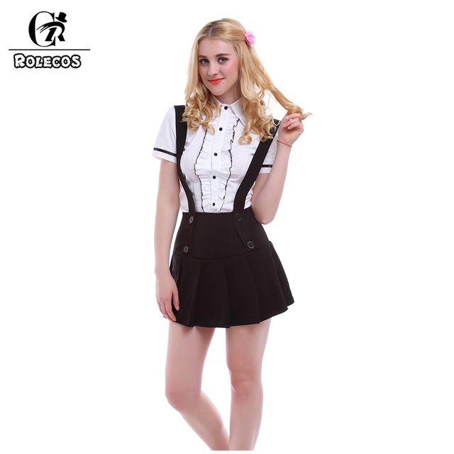 f9f2e565e1 ROLECOS School Girls' Cotton White Blouse Short Sleeve Shirts With Pleated  Black Suspender Women Skirts