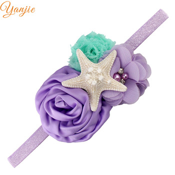 Starfish Mermaid Headband For Girls Shabby Chiffon Flower Gold Glitter Elastic Hairband Kids Satin Rose Flowers Hair Accessories