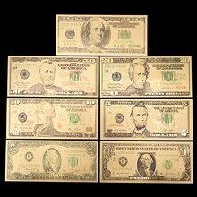7 шт./лот США Золотая фольга банкноты Америка Поддельные Банкноты все доллар сбор бумажных денег для украшения дома подарок