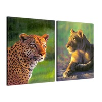 Animal Prints op Canvas Voor Woonkamer woondecoratie Muur Canvas Afrika Animal Paintings-2pcs-No Frame