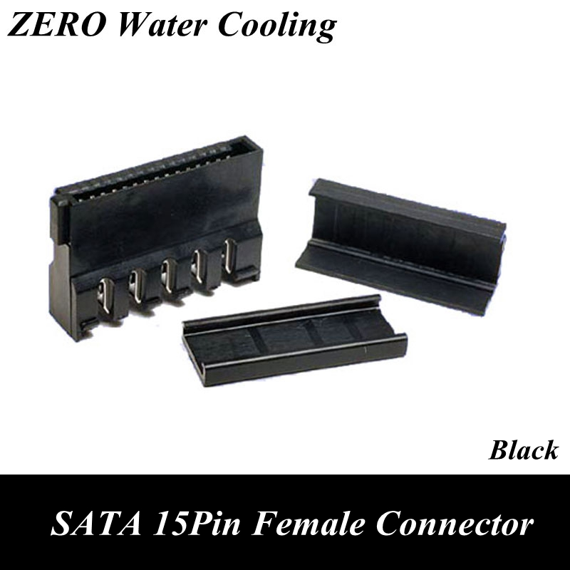 Black SATA 15Pin Female Power Connector With End Cap