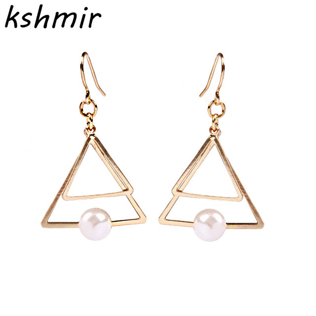 Europe And The United States A Minimalist Double Triangle Multiple Pearl Stud Earrings Ear Clip Female