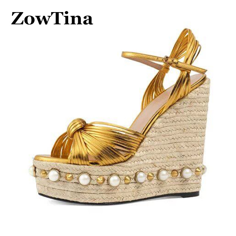 Women Gold Leather Wedge Sandals Gladiator Fashion Platform Summer Shoes Woman Pearl Sandalias Large Size 43 Rivets Zapatillas phyanic 2017 gladiator sandals gold silver shoes woman summer platform wedges glitters creepers casual women shoes phy3323