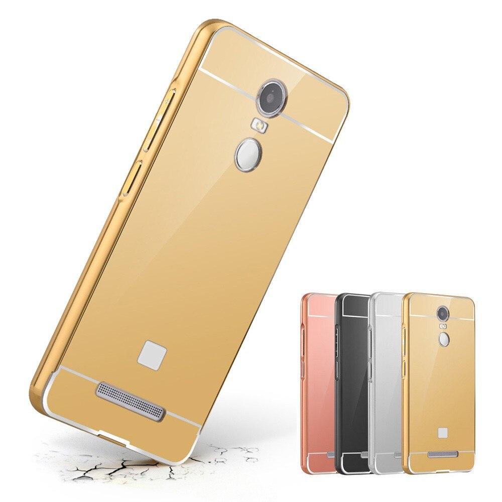 Mirror Back Coque For Xiaomi Redmi Note 4 Case Cover Xiomi Bumper Suppion Thin Metal Pc Hongmi 3 Wholesale