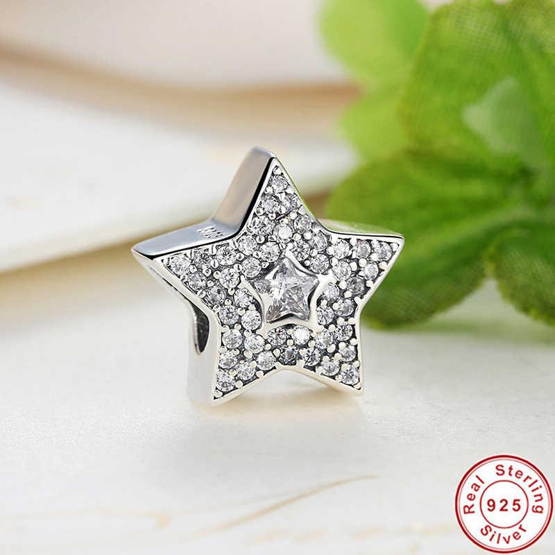 Drop verschiffen! 100% 925 Sterling Silber Wishing Sterne Charme Fit Armband Mit Klaren Zirkonia DIY Zubehör Superstar