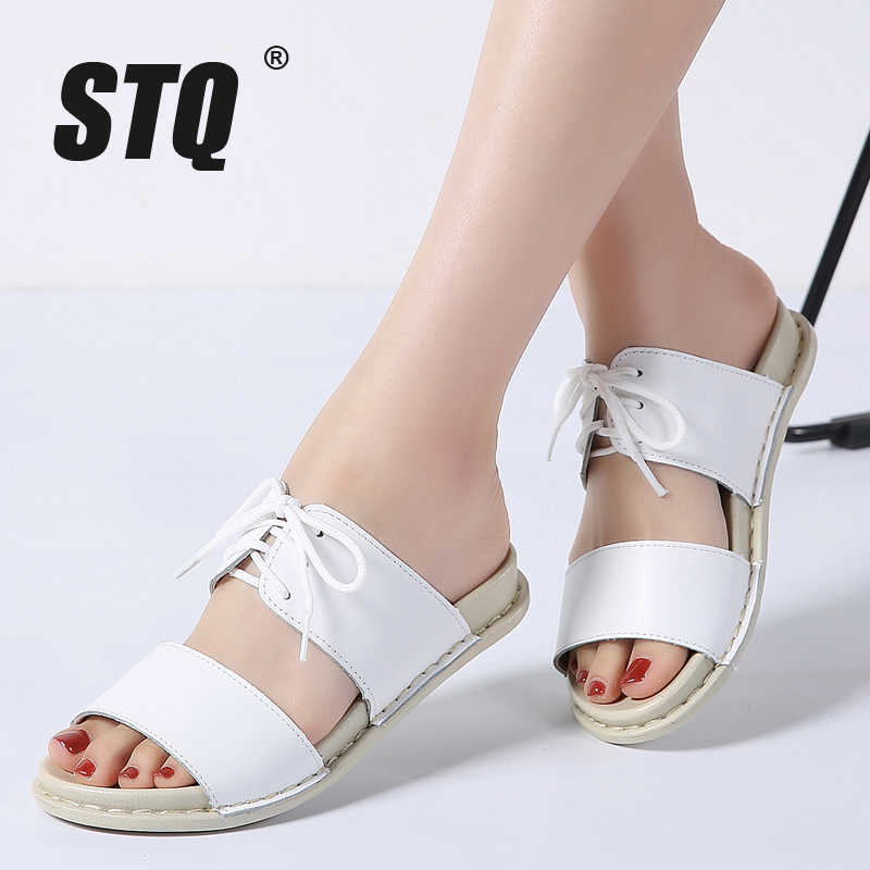 c79c61d225618 ... STQ 2019 Women sandals summer lace up ankle strap flat sandals Summer  Beach Sandals Women Flip ...