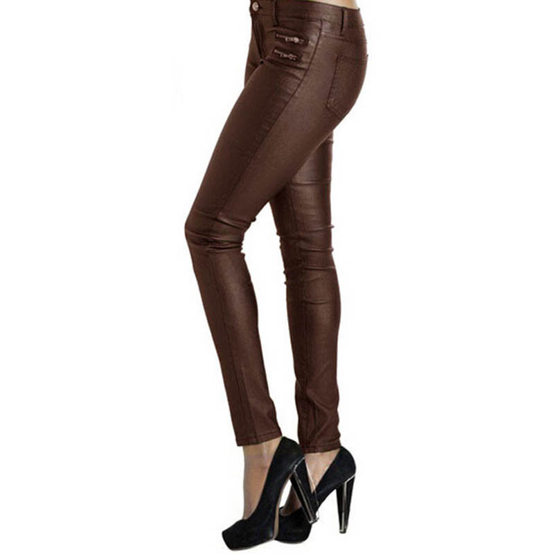 Low Waist Pencil Pants Women High Street Double Zipper Female Faux Leather Trousers New Fashion Stretchy Calca De Couro Pantalon
