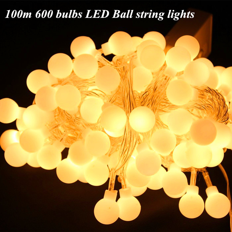Fairy 100m 600 bulbs LED ball string lights Christmas new year holiday party wedding decoration Garland light string outdoor 5m 20 big balls led ball string lights curtain garland lamp for fairy wedding party new year outdoor christmas holiday lighting