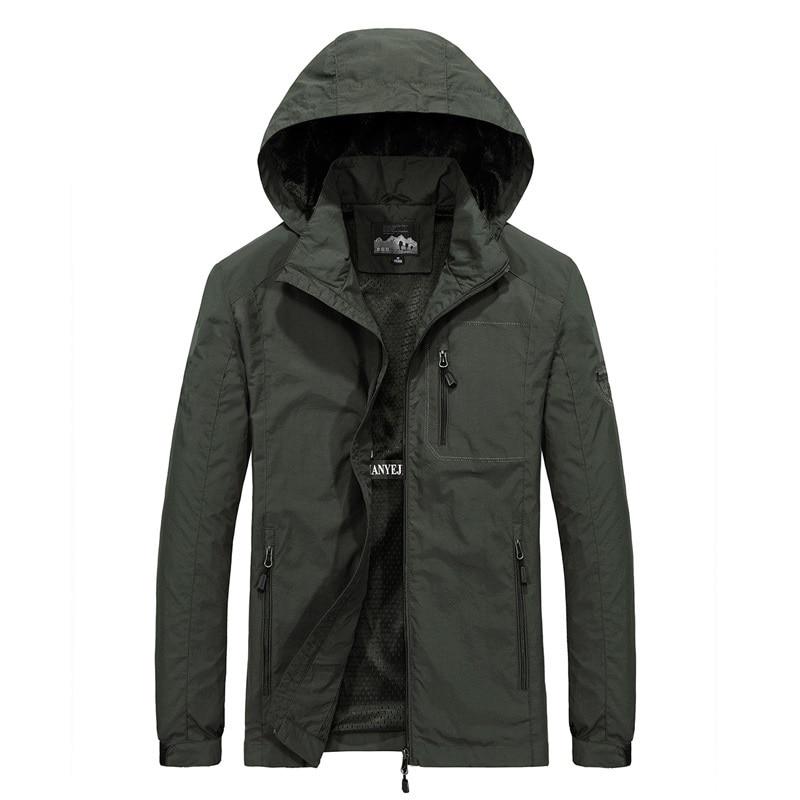 Mens Windbreaker Jackets Military Cargo Hooded Water Proof Wind Breaker Casual Coat Male Large Size Clothing Autumn Jacket Men