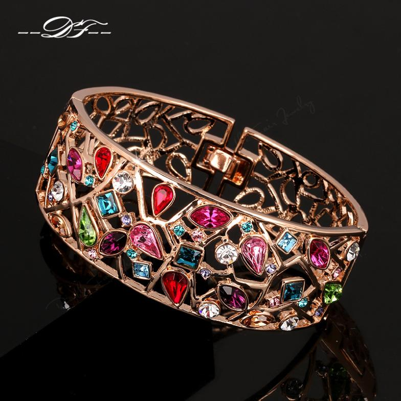 DFB006 Luxurious Multicolour Rose Gold Color Charms Bangles Fashion Jewelry For Women Gifts Austrian Crystal pulseira fashion punk buddha bracelet ancient silver color for women diy bangles charms bracelets men pulseira jewelry gifts b1202 2