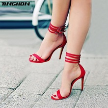 TINGHON New Gladiator Women Sandals Sexy High Heel Peep Toe Buckle Strap Pumps Summer Party Club Size 35-40