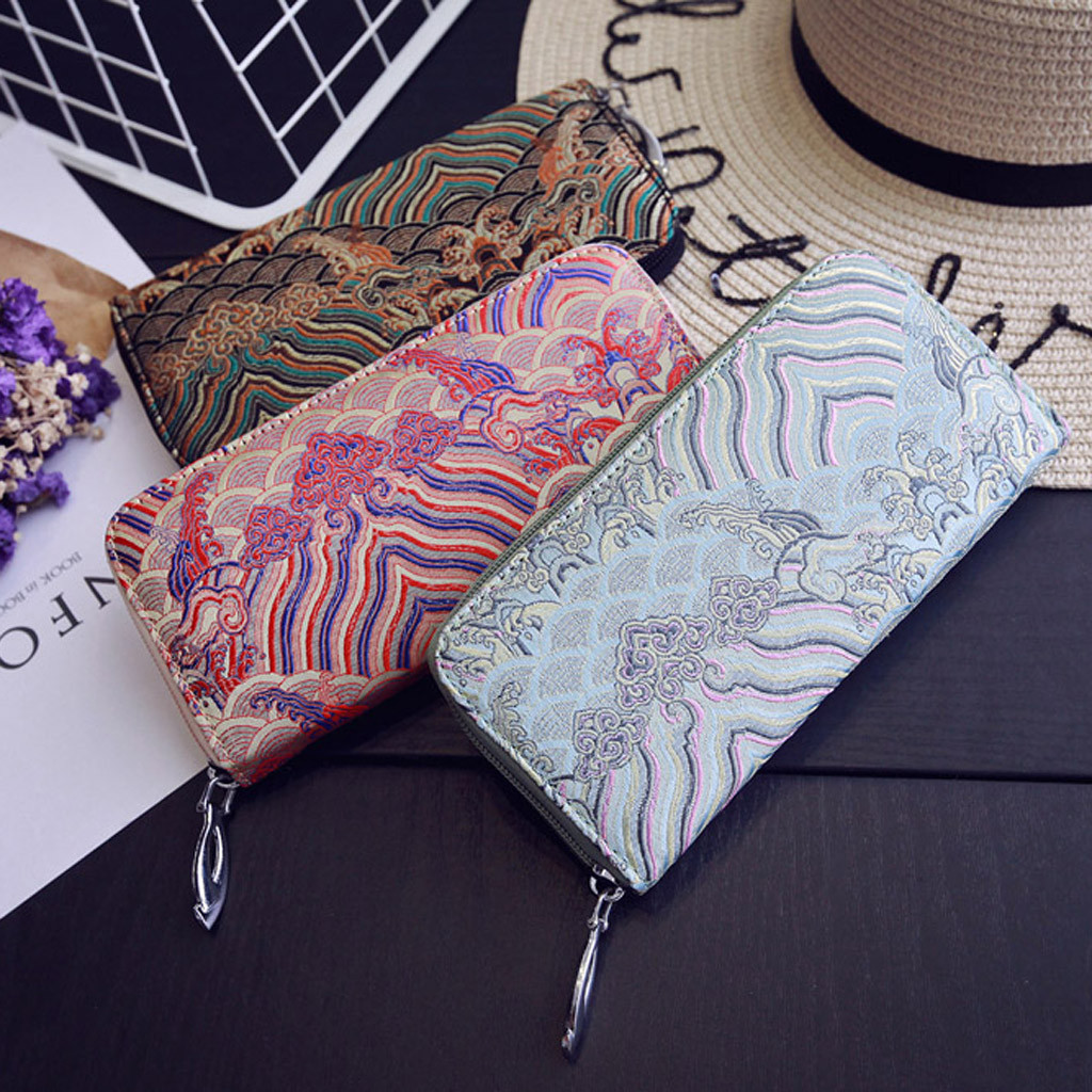 Clutches Luxury Card-Holders Handbag-Bag Coin-Purse Embroidery Chinese-Style Female Vintage