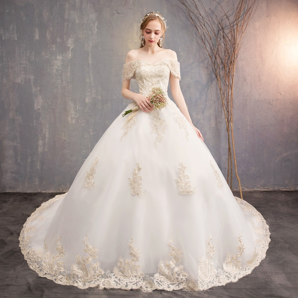 Strapless Slim-Line Gelinlik New Design Court Train Ball Gown Lace Edge High Quality Off The Shoulder Long Trail Wedding Dress