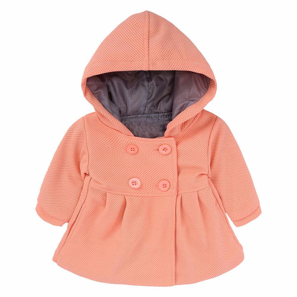 41e836590d3 ... 2018 Cute New Baby Girls Autumn Winter Clothes Horn Button Hooded Pea  Coat Toddler Kids Princess ...