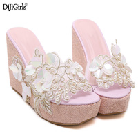 Summer Sandals Beaded Flowers Platform Wedges Women Slippers Fashion Flip Flops Hot Bohemian National Style Women