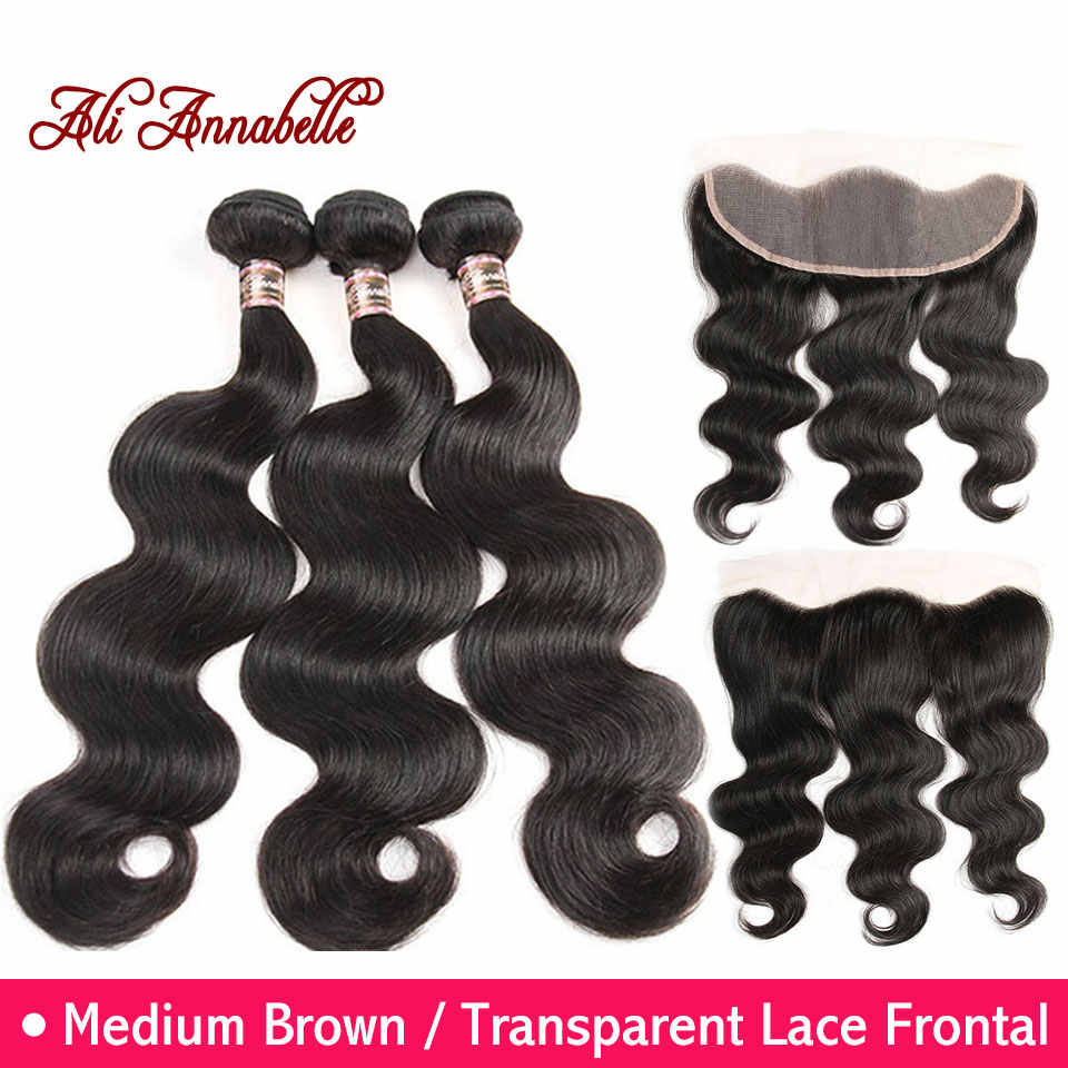 ALI ANNABELLE HAIR Malaysian Body Wave Human Hair Bundles 3 Bundles With Lace Frontal Remy Hair Weave Bundles 13x4 Frontal