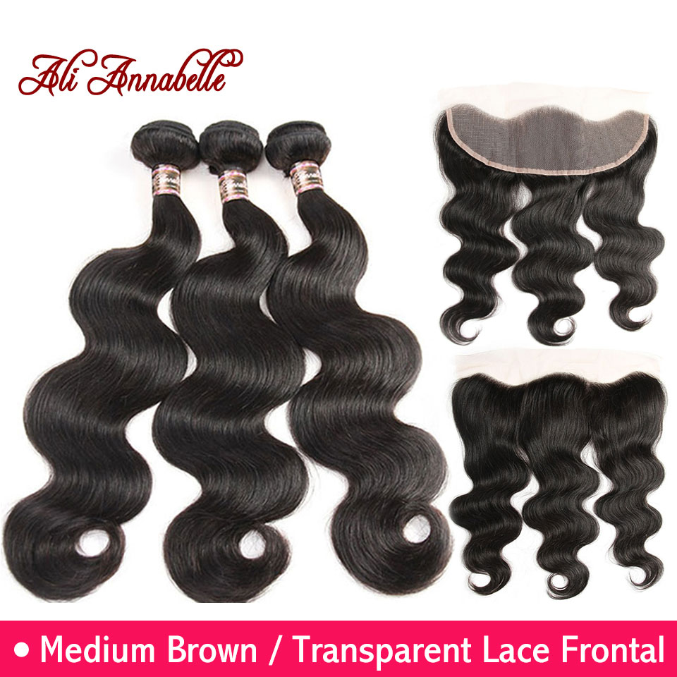 ALI ANNABELLE HAIR Malaysian Body Wave Human Hair Bundles 3 Bundles With Lace Frontal Remy Hair Weave Bundles 13x4 Frontal-in 3/4 Bundles with Closure from Hair Extensions & Wigs    1