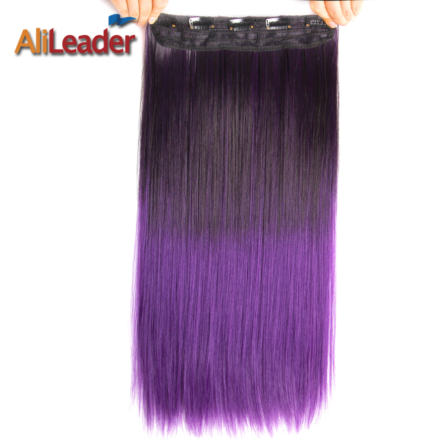 Alileader Hair 22 Inch Long Straight Clip In On Hair Extensions Ombre Rainbow Color Kanekalon Synthetic 5 Clips In Hairpiece