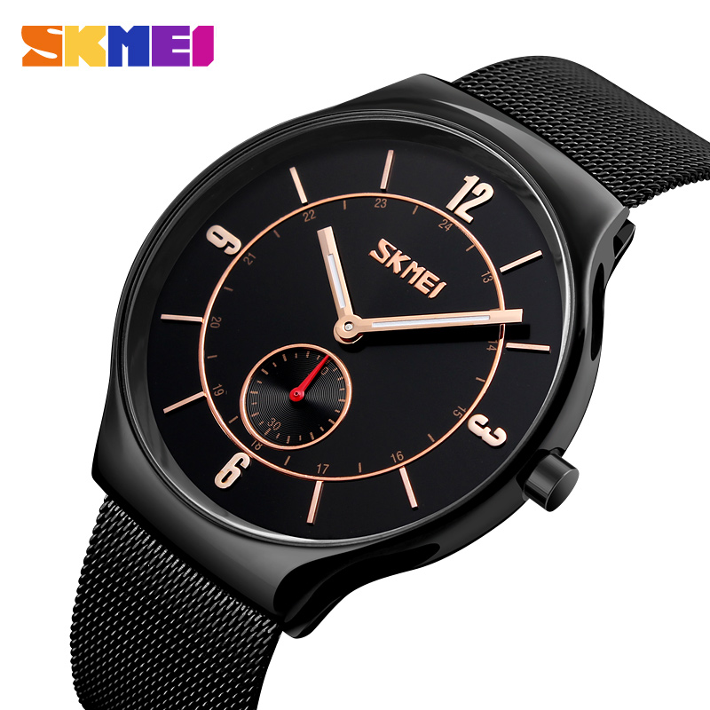 SKMEI Top Luxury Brand Quartz watch Men's Watches Ultra Thin Stainless Steel Mesh Band Wristwatch Fashion Casual Clock Male New bestdon new top luxury watch men brand men s watches ultra thin stainless steel mesh band quartz wristwatch fashion casual clock