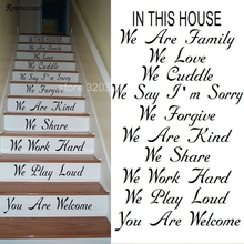 цена на LARGE STAIRS STAIR IN THIS HOUSE RULES WE ARE FAMILY LOVE CUDDLE STICKER DECAL Z199